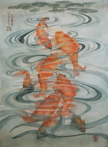 Eight Koi Watercolor painting, Susanne Okomoto