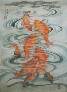 Eight Koi Watercolor painting, Susanne Okomoto