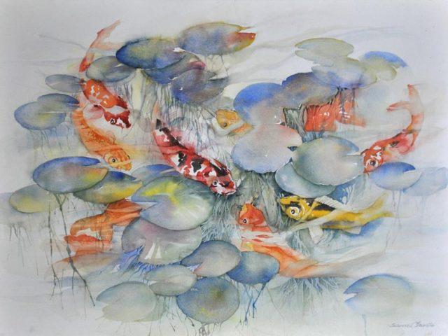 Koi and Goldfish, Watercolor, 22″ x 30″