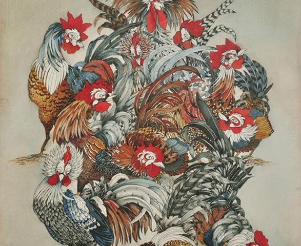 The Emperor's Roosters, Watercolor, 22″ x 30″