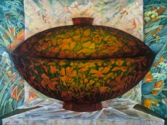 Lidded Bowl, Oil, 22″x30″