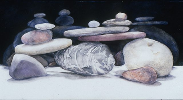 Night Rocks, Oil, 6″ x 12″