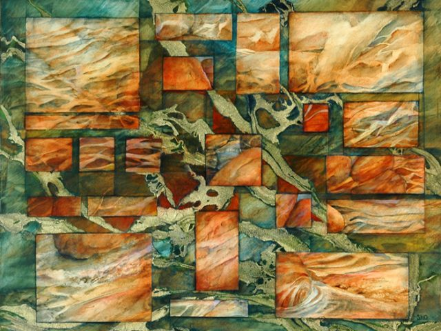 Rectangular Vision, Oil and rice paper, 21″ x 12″