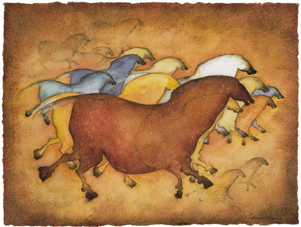 Running Horses, Giclee print image, 22″ x 26″