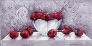 "White_Bowl_wiith_Cherries_oil_6""x12"""