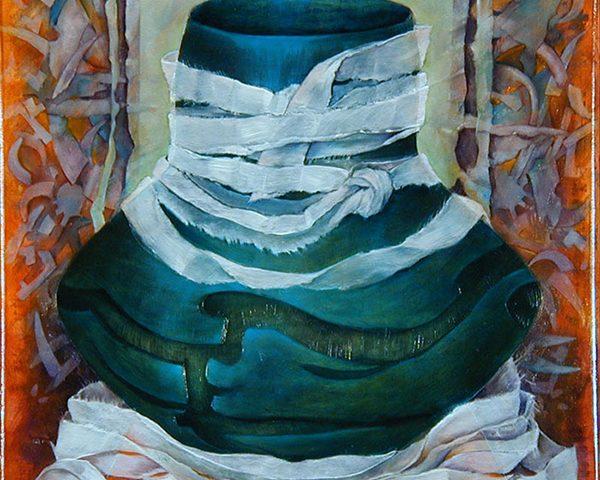 Wrapped Pot, Oil, 12″x12″