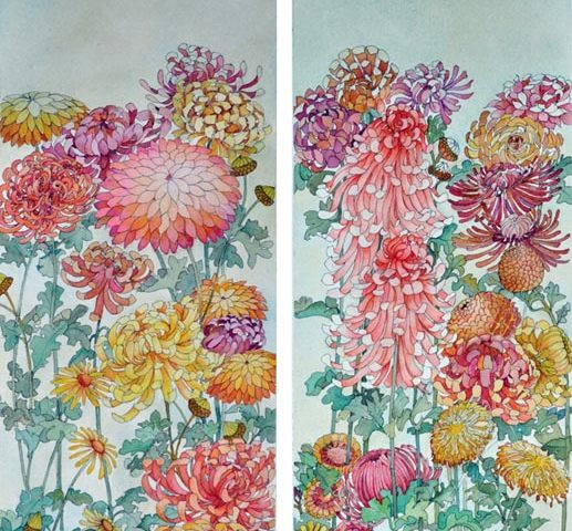 Chrysanthemums after Hokusai, Watercolor Diptych, 9.5″ x 28″ each
