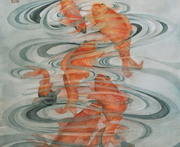 Eight Koi, Watercolor, 22″ x 30″
