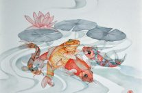 Four Koi, Watercolor, 22″ x 22″