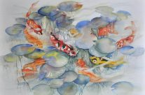 Koi and Goldfish, Watercolor, 22″ x 30″