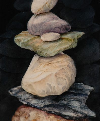Night Time Rocks, Oil, 12″ x 6″