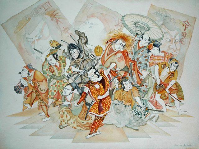 Noh Actors, Watercolor 20″ x 28″ Prints Available