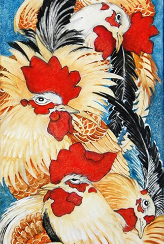 Pecking Order, Oil on board, 9″ x 20″