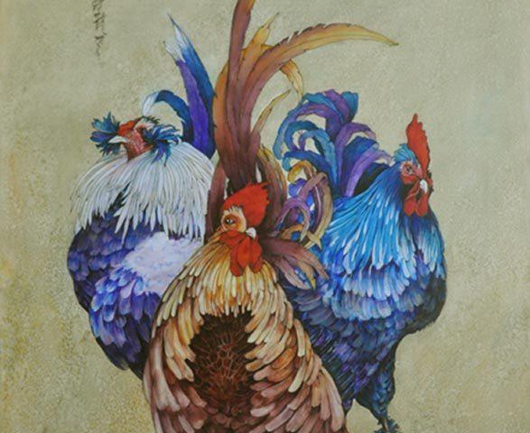 Splendid Roosters, Oil, 23″ x 31″