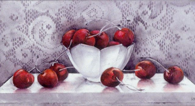 White Bowl with Cherries, Oil, 6″x12″